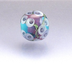 Lampwork glass bead focal Aqua lilies by Anne by AnneLondezGlass.