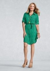 New CAbi Spring '13- Emerald Shirt Dress.... in THE color of the Season