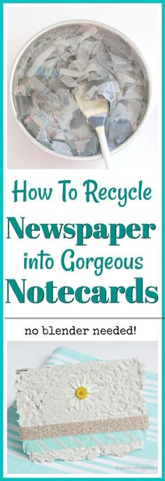 How To Recycle Newspaper Into Gorgeous Notecards - No Blender Needed! #homemadepaper #homemadegiftcards #recycle #recyclenewspaper #notecards #homemadenotecards