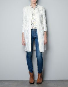 GATHERED GUIPURE LACE COAT - Coats - Woman - ZARA United States