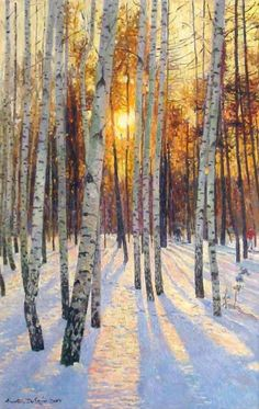 I may...yes, I believe I do have a birch obsession. But in this case, it's all about that light on the snow.  Anatoly Dverin    Sunset In A Birch Grove