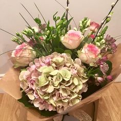 Hydrangeas and Roses Pink Flowers, Floral Wreath, Wreaths, Hydrangeas, Roses, Beautiful, Decor, Floral Arrangement, Floral Crown