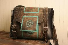 Turquoise Totes: Tooled Leather Messenger Bag - Florence Duomo