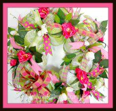 Beautiful Burlap #DecoMeshWreath. $95.00 USD