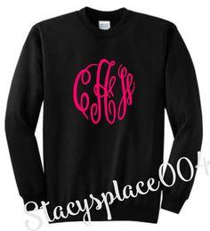 monogrammed sweater, monogrammed sweat shirt, monogrammed shirt, black sweater