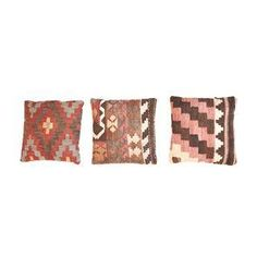 Three beautiful Turkish Kilim rug pillows! Each pillow is made from an authentic kilim rug from Turkey. Hand-woven with 100% wool and is multi-colored with original turkish dyes.