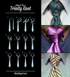 nudo de corbata Cool Tie Knots, Tie A Necktie, Trinity Knot, Just For Men, Fashion And Beauty Tips, Suit And Tie, Gentleman Style, Dress To Impress, How To Look Better
