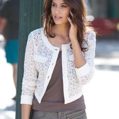 White Lace Blazer to Add to Your Clothes More Charming and Lace Blazer, Lace Jacket, Lace Shorts, Kinds Of Clothes, Clothes For Women, Lingerie Look, Casual Wear, Casual Outfits, Couture Tops