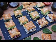 Canapés de hojaldre con 3 rellenos diferentes muy fáciles y super ricos - YouTube Healthy Cooking, Cooking Recipes, Pizza Bites, Empanadas, Spanakopita, Food Hacks, Zucchini, Catering, Sandwiches