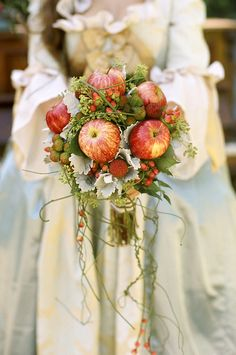 Apple bouquet from Rock N Roll Bride - Photography Credit: Wildberry Studio Design Rhondda Scott Photography Apple Bouquet: Velvetlily fall wedding boquets / fall wedding boquette / fall wedding koozie / fall wedding flowers / fall wedding pallettes Autumn Bride, Autumn Wedding, Thanksgiving Wedding, Fruit Wedding, Floral Wedding, Wedding Boquette, Wedding Events, Cascading Wedding Bouquets, Wedding Flowers