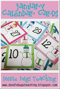 January Calendar Cards {free download} www.doodlebugsteaching.blogspot.com