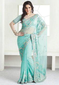 Actor, Model Zarine Khan gorgeous in aqua ~ turquoise #Saree