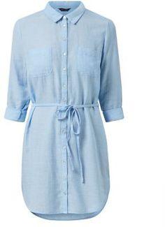 Light Blue Tie Waist Roll Sleeve Shirt Dress | Lydia Martin Teen Wolf Style Guide.
