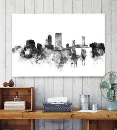 Jacksonville Skyline Print, Skyline Print, City Skyline, watercolor poster, Jacksonville art, Florida art,  black and white watercolor