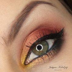 'Classical Autumn' Idea Gallery look by Dzastina252 using Makeup Geek's Bitten, Envy, Goddess, Mango Tango, Vanilla Bean, Cosmopolitan, and Lemon Drop eyeshadows.