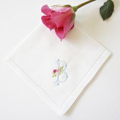 Rose Monogrammed Handkerchief, Cotton Handkerchief, Personalized Handkerchief,  Bridal Handkerchief, Wedding Handkerchief