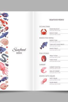 Seafood restaurant vector menu template #seafood #restaurant #menu #flat #fish #salmon #octopus #oyster #lobster #shrimp Baked Trout, Baked Fish, Seafood Menu, Seafood Restaurant, Octopus, Flat Fish, Restaurant Menu Template, Illustrations, Journal Cards
