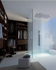 Walk-in closet with shower. Dream about kinda this shower and shower around the body.