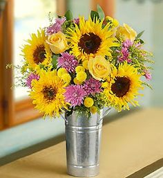 sunflower and rose arrangement* change up the colors if don't like the purple?