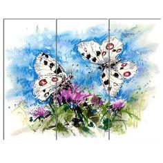 DesignArt 'Apollo Butterflies Illustration on Blue' 3 Piece Painting Print on Wrapped Canvas Set