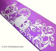 Plum Violet mens necktie  Distressed Skull tie design by RokGear, $19.40
