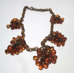 Beautiful Vintage Brass Amber Glass Cluster Dangle Beaded Necklace | eBay