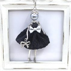 Cute Yarn Cloth Bowknot Dress Doll Necklace Women Jewelry stores Christmas Gifts Jewelry Accessories 2