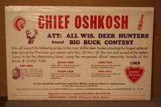 OSHKOSH BIG BUCK CONTEST 1969 ADVERTISING