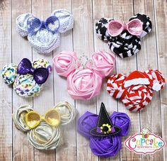 "minnie mouse hair clips- Ab wanted to note that ""I don't like the purple one"" (Lol) but she loves all the others! Diy Hair Bows, Bow Hair Clips, Ribbon Crafts, Ribbon Bows, Ribbons, Diy Headband, Headbands, Disney Hair, Ribbon Sculpture"