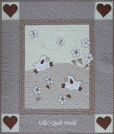Sheep quilts - baby blanket and pillowcase by Ulla's Quilt World.