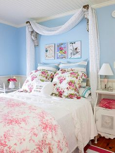 Vintage Bedroom Ideas love the bedspread and the antique shelf things