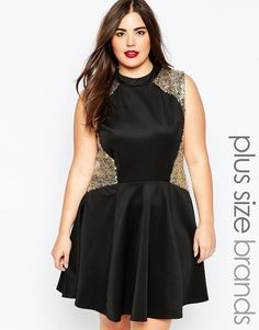 Image 1 of Club L Plus Size Skater Dress With Sequin Inserts