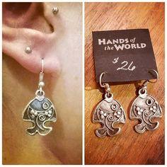 Dangling pewter fish earrings from Turkey. $26.