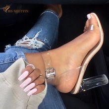 2017 Femmes sandales Plus La taille 34-43 Transparent PVC haute talons chaussures femme Star style Boucle Cheville gladiateur sandales femmes chaussures(China (Mainland))