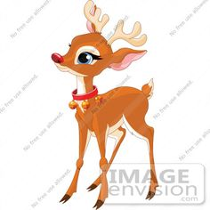 raindeer clip art | Clip Art Illustration Of A Baby Rudolph With A Red Nose And Bell ...