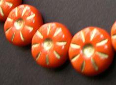 Czech Glass Orange Daisy Flowers 12mm  15 Beads  by amazingbeads - 4.80 euro