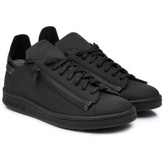 Adidas Y-3 Stan Zip Sneakers (970 BRL) ❤ liked on Polyvore featuring shoes, sneakers, black, kohl shoes, urban footwear, adidas trainers, adidas footwear and zipper shoes