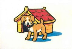Prepositions. The dog is in front of the kennel.