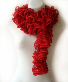 Red scarf, ruffled lace, long accessories, flamenco, can can, ruffle long, fashion, style. $23.00, via Etsy. Red Scarves, Crochet Necklace, Night Circus, Trending Outfits, Spaces, Accessories, Color, Etsy, Style