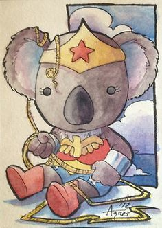 Agnes Garbowska - More cute Koala Superhero art!