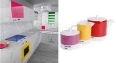 Eletrodomésticos coloridos numa cozinha branca - direto de Milão