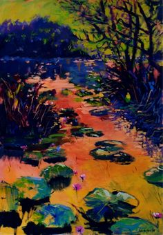 Water Lilies.  By Rika De Klerk Water Lilies, Lily, Contemporary, Landscape, Painting, Art, Art Background, Scenery, Painting Art
