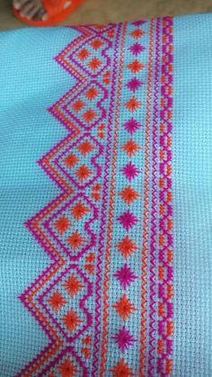 Purple and orange tone Mini Cross Stitch, Cross Stitch Borders, Cross Stitch Flowers, Cross Stitch Designs, Cross Stitching, Cross Stitch Patterns, Embroidery Art, Cross Stitch Embroidery, Embroidery Patterns