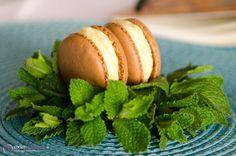 Schoko-Macarons mit frischer Minze und weißer Kuvertüre.