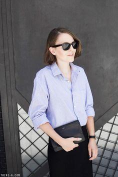 Trini | Isabel Marant midi skirt -Burberry mens striped shirt - RayBan wayfarer sunglasses - Céline pouch - Daniel Wellington watch