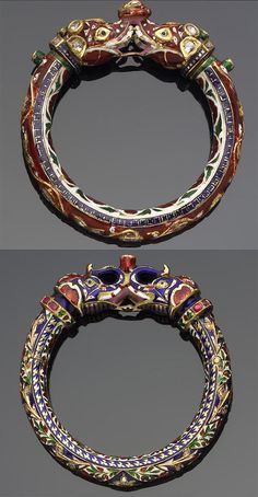 India | Diamond set enamelled gold bangle.