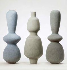 Turi Heisselberg Pedersen; Glazed Ceramic 'Balustrade' Vases, 2014.