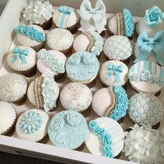Blue, White, Silver Cupcakes