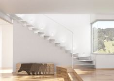 Clamped white stairs into the wall