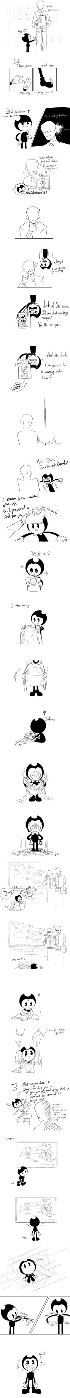 The Gift | Bendy And The Ink Machine Comic by https://always-x3.tumblr.com/post/159940616077/im-too-lazy-to-design-joeys-face-part-2-part-3